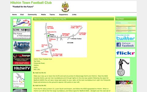 Screenshot of Maps & Directions Page hitchintownfc.co.uk - Hitchin Town Football Club - captured Oct. 2, 2014