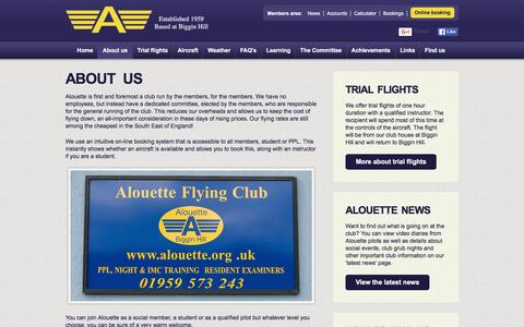 Screenshot of About Page alouette.org.uk - Alouette Flying Club - About us - captured Feb. 5, 2016