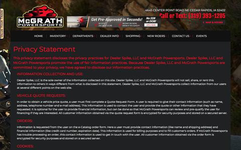 Screenshot of Privacy Page mcgrathpowersports.com - Privacy | McGrath Powersports | Cedar Rapids Iowa - captured July 27, 2018