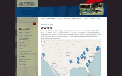 Screenshot of Locations Page ensafe.com - Locations | EnSafe - captured Nov. 8, 2016