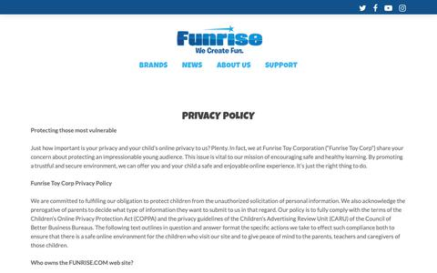 Screenshot of Privacy Page funrise.com - Privacy Policy - Funrise - captured Oct. 24, 2018