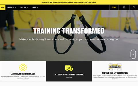 Screenshot of Home Page trxtraining.com - TRX Suspension Training | Suspension Weight Training - captured Aug. 21, 2017