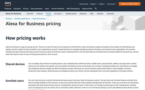 Screenshot of Pricing Page amazon.com - Alexa for Business Pricing - captured May 8, 2019