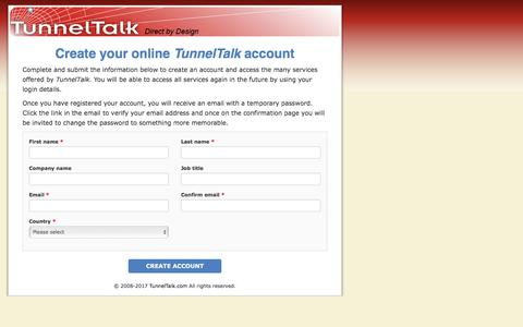 Screenshot of Signup Page tunneltalk.com - Create Account - captured June 19, 2017