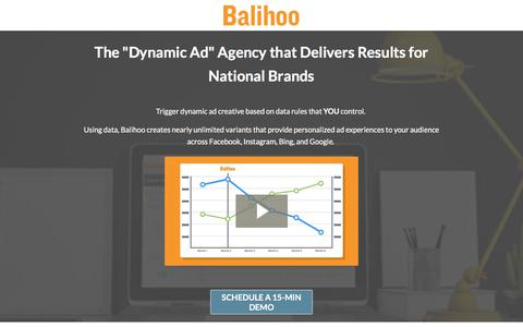 """Screenshot of Landing Page balihoo.com - The """"Dynamic Ad"""" Agency that Delivers Results. - captured Aug. 11, 2017"""