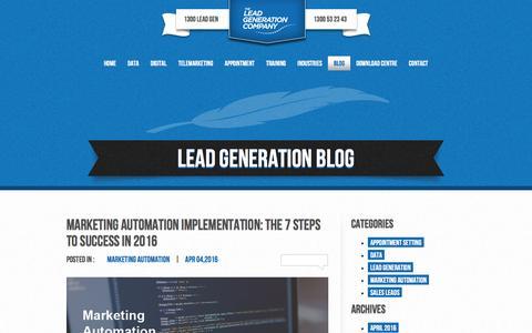 Screenshot of Blog leadgeneration.com.au - Lead Generation Blog For Australian Businesses | The Lead Generation Company - captured Dec. 5, 2016