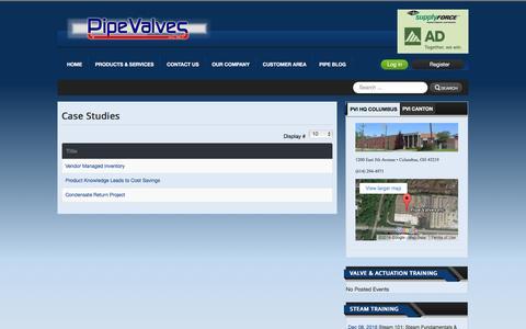 Screenshot of Case Studies Page pipevalves.com - Case Studies - captured Nov. 6, 2016