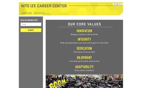Screenshot of Jobs Page niteize.com - Nite Ize Career Center - captured Sept. 25, 2018