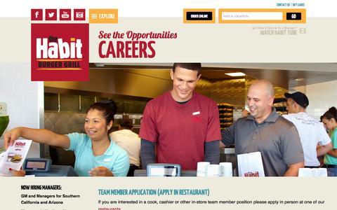 Screenshot of Jobs Page habitburger.com - See the Opportunities Careers   Habit Burger - captured Oct. 26, 2014