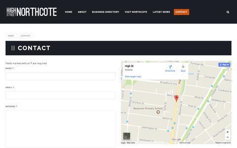 Screenshot of Contact Page highstreetnorthcote.com.au - High Street Northcote - captured Oct. 22, 2017