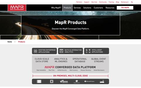 Screenshot of Products Page mapr.com - Products | MapR - captured Jan. 16, 2018