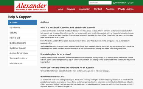 Screenshot of Support Page alexanderauctions.com - Help & Support | Alexander Auctions & Real Estate Sales - captured Oct. 22, 2018