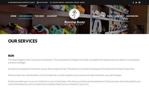 Screenshot of Services Page runningawaymultisport.com - Our Services   Running Away Multisport - captured Jan. 11, 2016