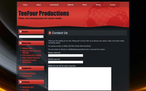 Screenshot of Contact Page teefourproductions.com - Contact Us | TeeFour ProductionsTeeFour Productions - captured Oct. 7, 2014