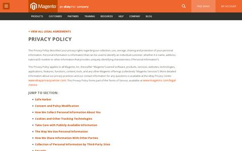 Screenshot of Privacy Page magento.com - Privacy Policy | Magento - captured July 20, 2014