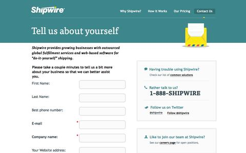 Screenshot of Landing Page shipwire.com - Contact Shipwire order fulfillment team - captured Feb. 24, 2016