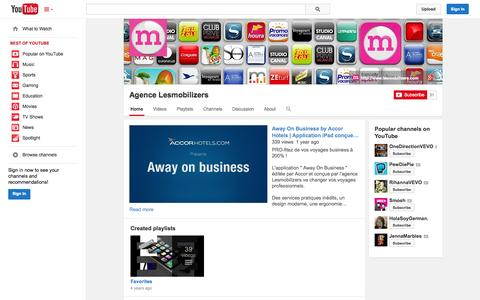 Screenshot of YouTube Page youtube.com - Agence Lesmobilizers  - YouTube - captured Oct. 22, 2014