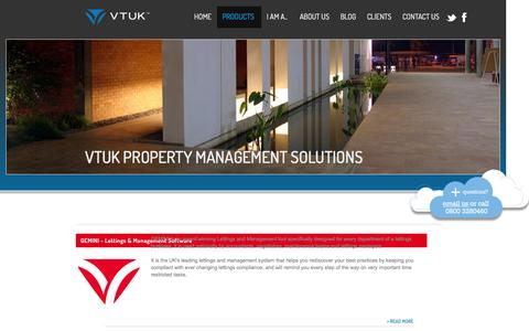 Screenshot of Products Page vtuk.com - Property Management Software Products | VTUK - captured Dec. 9, 2016