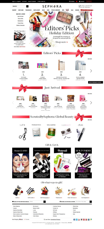 Screenshot of sephora.com - Cosmetics, Beauty Products, Fragrances & Tools | Sephora - captured Nov. 11, 2015