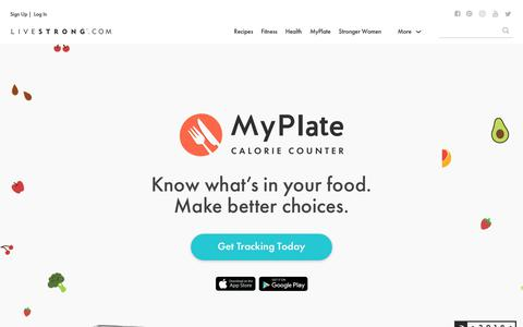 Screenshot of Signup Page livestrong.com - MyPlate Calorie Counter | Livestrong.com - captured Sept. 19, 2018