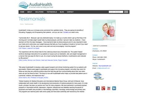 Screenshot of Testimonials Page audiahealth.com - AudiaHealth - a human voice to help you healTestimonials - captured Oct. 4, 2014