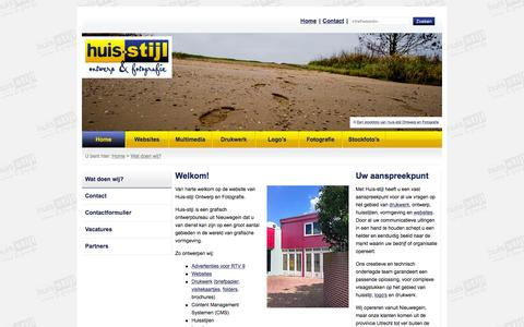 Screenshot of Home Page huis-stijl.nl - Welkom > Huisstijl Ontwerp en Fotografie, grafisch ontwerpbureau Nieuwegein / Utrecht - captured Feb. 1, 2016