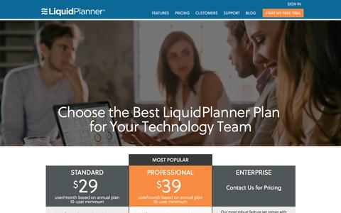 Screenshot of Pricing Page liquidplanner.com - Pricing Options - LiquidPlanner - captured Feb. 24, 2016