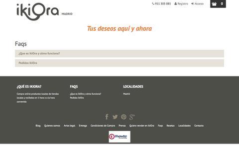 Screenshot of FAQ Page ikiora.es - Faqs - ikiOra - captured Sept. 30, 2014