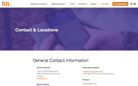 Screenshot of Locations Page d2l.com - Contact Info & Office Locations | D2L - captured Oct. 9, 2017