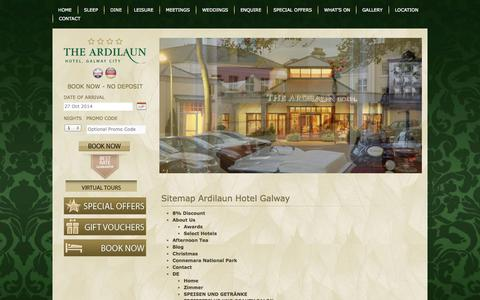 Screenshot of Site Map Page theardilaunhotel.ie - Sitemap Ardilaun Hotel Galway - captured Oct. 26, 2014
