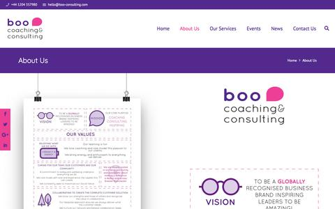Screenshot of About Page boo-consulting.com - Boo Coaching & Consulting | About Us - captured Aug. 3, 2018