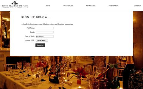 Screenshot of Signup Page beachblanket.co.uk - Sign Up - BeachBlanketBabylon - captured Sept. 19, 2014
