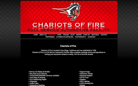 Screenshot of Services Page cofcustoms.com - Chariots of Fire • Full Service Automotive Facility - captured Oct. 2, 2014