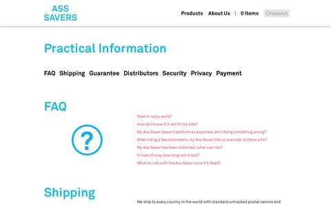 Screenshot of Privacy Page FAQ Page ass-savers.com - Practical info about ordering. - captured Dec. 16, 2014