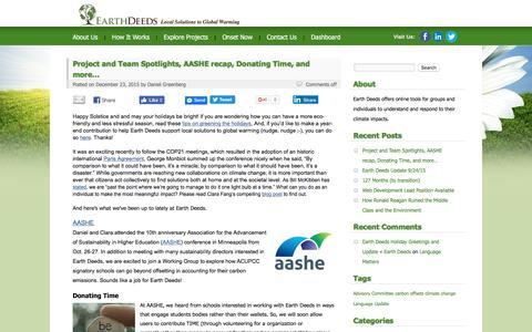 Screenshot of Blog earthdeeds.org - Earth Deeds - captured July 10, 2016