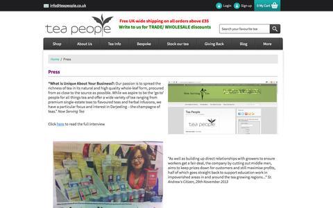 Screenshot of Press Page teapeople.co.uk - Press - captured Oct. 26, 2014