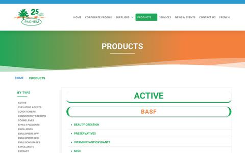 Screenshot of Products Page pachemdistribution.com - PRODUCTS – Pachem Distribution Inc - captured Dec. 13, 2018