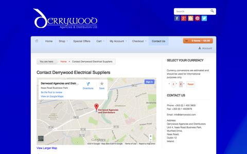 Screenshot of Contact Page derrywood.com - Contact Derrywood Agencies & Distribution   Electriacal Suppliers - captured Oct. 5, 2014
