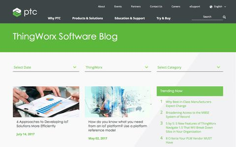 Screenshot of Blog ptc.com - ThingWorx Software Blog | PTC - captured Oct. 14, 2017