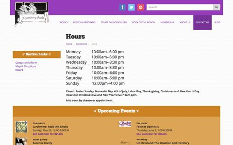 Screenshot of Hours Page loganberrybooks.com - Hours | Loganberry Books - captured May 29, 2016