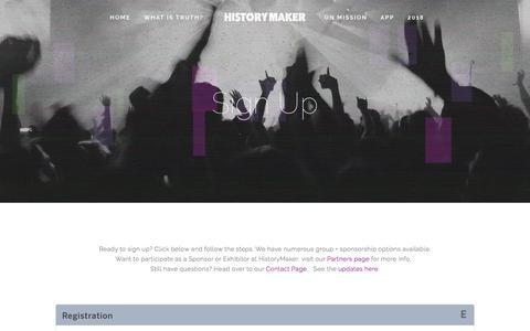 Screenshot of Signup Page historymaker.ca - Sign Up — Historymaker Conference - captured Aug. 13, 2017