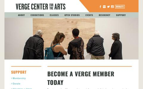 Screenshot of Support Page vergeart.com - Verge Center for the Arts - captured Oct. 18, 2018