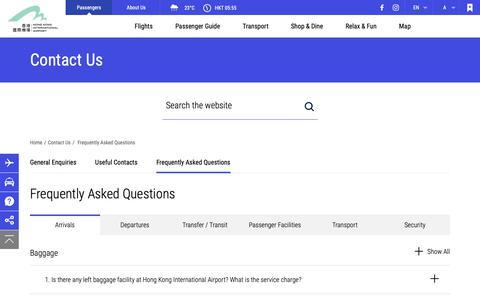 Screenshot of FAQ Page hongkongairport.com - Frequently Asked Questions, Contact Us - Hong Kong International Airport - captured Oct. 18, 2018