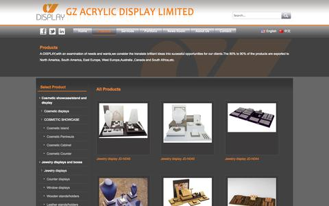 Screenshot of Products Page gzacrylic.com - All Productsacrylic display,cosmetic display,jewelry display,cosmteic acrylic display,jewelry acrylic display,jewelry PU display,jewelry MDF display,cosmetic showcase,jewelry showcase,cosmetic floor display stand,jewelry floor display stand,cosmetic  - captured Oct. 1, 2014