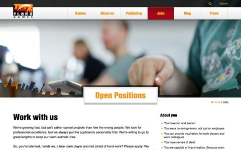 Screenshot of Jobs Page flaregames.com - Jobs Archive | flaregames - captured Oct. 22, 2014