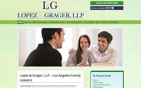 Screenshot of Home Page About Page lgfamlaw.com - Lopez & Grager, LLP - Los Angeles Family Lawyers - captured Oct. 3, 2014