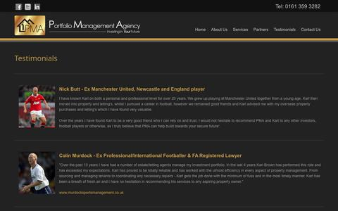 Screenshot of Testimonials Page pmagency.co.uk - Testimonials PMA Agency - Portfolio Management Agency Manchester - captured Oct. 27, 2014