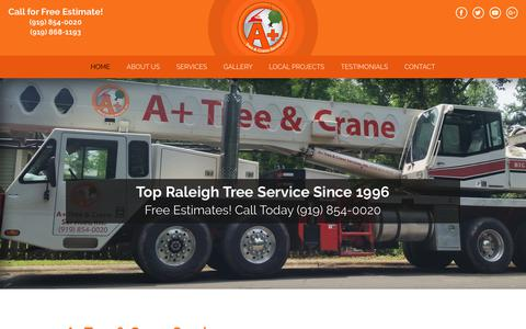 Screenshot of Home Page aplustrees.com - Tree Service Raleigh Triangle | Tree Trimming Services | Tree Stump Removal - captured Dec. 16, 2018