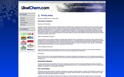 Screenshot of Privacy Page likwichem.com - Likwi Chem | Privacy policy | Information, Customers, Website, Subscribers, Collect | Electrical and plumbing essentials - captured Oct. 3, 2014