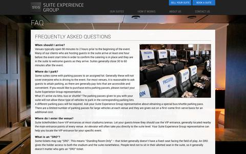 Screenshot of FAQ Page suiteexperiencegroup.com - FAQ | Suite Experience Group - captured Nov. 10, 2017